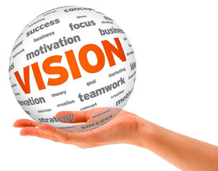The word vision featured on a clear ball