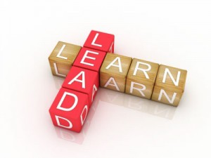 Blocks showing the words learn and lead