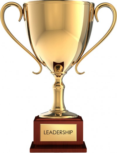 Trophy with leadership text