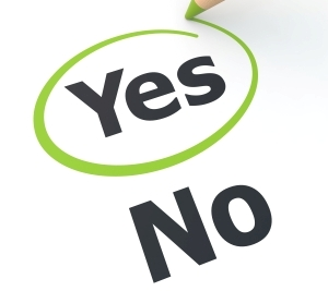 Image of the words yes and no with the' yes' being circled
