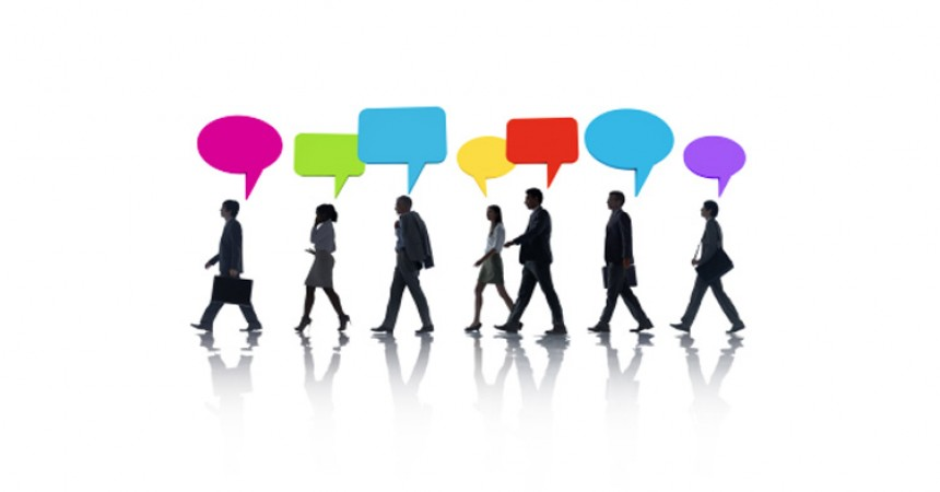 Image of people walking with speech bubbles above their heads