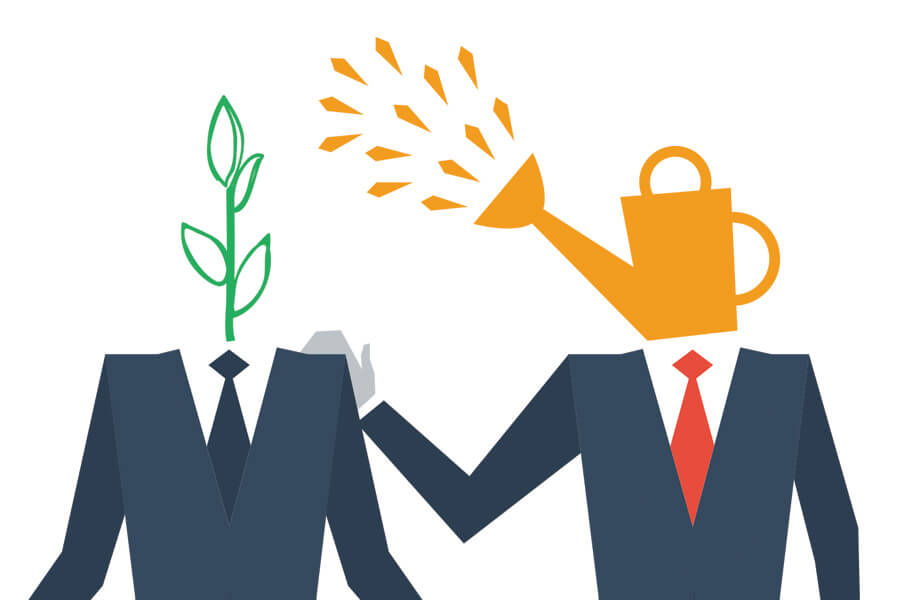 Image of two figures in suits, instead of heads one has watering can and is watering other figures head which is a plant